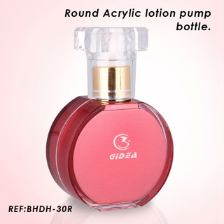 30ml Round Red Acrylic Lotion Pump Bottle Innovative Cosmetic Packaging Bottle