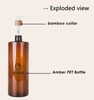 500ml Amber PET Plastic Pump Bottle With Bamboo Collar