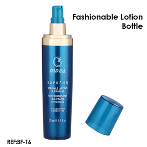Cylinder shape blue plastic 100ml/50ml bottle