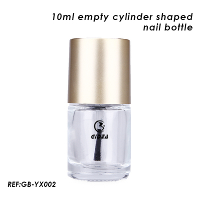 10ml Empty Cylinder Shaped Glass Nail Polish Bottle with Matte Gold Cap