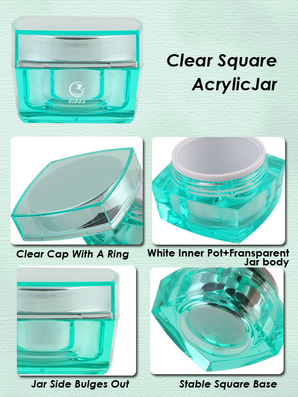 15ml 30ml 50ml 100ml Square Cosmetic Cream Acrylic Jar