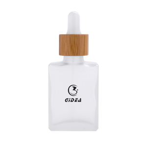 30ml Square Flat Glass Cosmetic Bottle with Dropper And Bamboo Cap