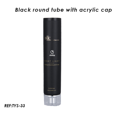Black Round Cosmetic Plastic Tube with Acrylic Cap