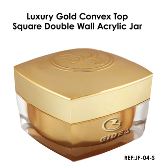 15ml 30ml 50ml Gold Square Acrylic Double Wall Plastic Cream Cosmetic Jar