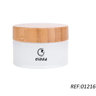 30g 50g Cosmetic Frosted Glass Jar with Bamboo Lid